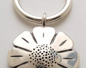 Silver Daisy Keyring made From Vintage American Half Dollar Coin