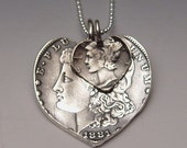 Silver Dollar Dime Hearts Necklace Mother Child 2 Vintage American Liberty Coins