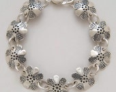 Flowers Bracelet made from Vintage Silver American Dimes