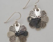 Silver Flower Earrings made from Vintage US Silver Standing Liberty Quarters