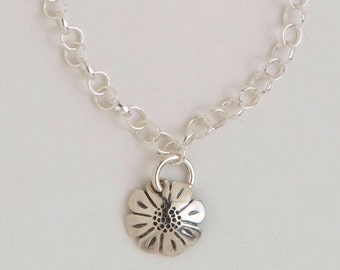 Daisy Recycled Coin Design Sterling Silver Daisy Dime Charm Bracelet
