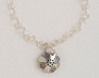 Recycled Dime Sterling Silver Flower Charm Bracelet made from Vintage Dime