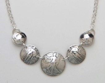 Silver Necklace made from 5 Vintage American Silver Coins