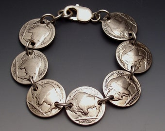Buffalo Nickels Bracelet made from 7 Vintage American Coins