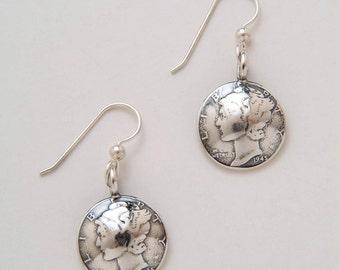 Silver Mercury Dimes Earrings