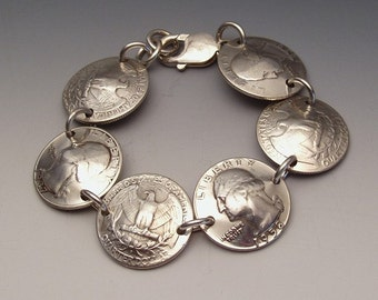 Silver Washington Quarters Bracelet made from Vintage American Silver Coins