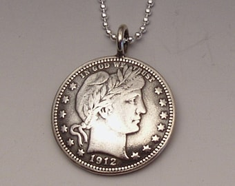 Silver Barber US Quarter Coin Pendant