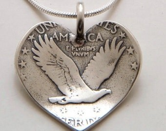 Heart Pendant made from Vintage Silver US Quarter Coin