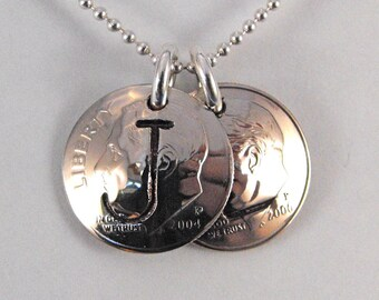 Mothers' Jewelry 2 Initial Charms Custom Birth Year Dime Pendants Necklace