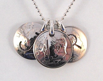 Mothers' Jewelry 3 Initial Charms Custom Birth Year Dime Pendants Necklace