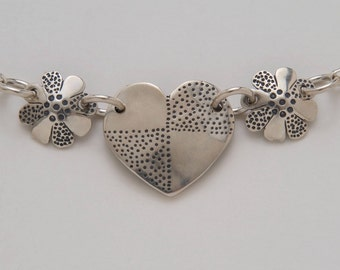 Dimes Silver Heart Flowers Necklace made from 3 Vintage American Silver Coins