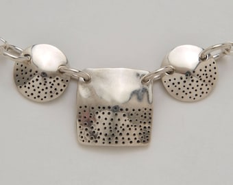 Dimes Silver Circle Dot Square Dots Necklace made from 3 Vintage American Silver Coins