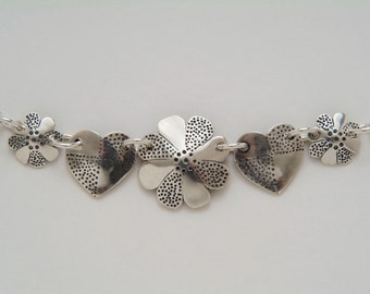 Coins Silver Flowers Hearts Necklace made from 5 Vintage American Silver Coins