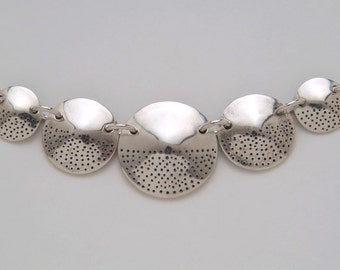 5 Coins Silver Circle Dots Necklace made from 5 Vintage American Silver Coins