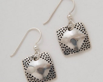 Silver Square Diamond Earrings made from Vintage US Silver Standing Liberty Quarters