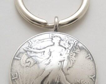 Walking Liberty Silver Half Dollar Keyring