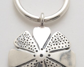 Silver Flower Keyring made From Vintage American Half Dollar Coin