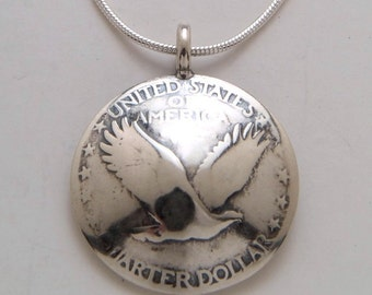 Silver Eagle Pendant Made from Vintage US Silver Liberty Quarter Coin