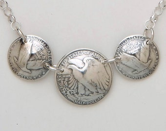 Silver Necklace made from 3 Vintage American Silver Eagle Coins