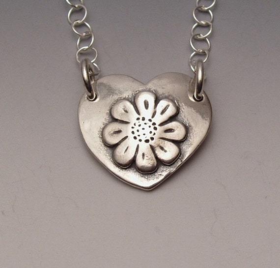 Heart Daisy Necklace made from Silver Half Dollar and Dime Coins
