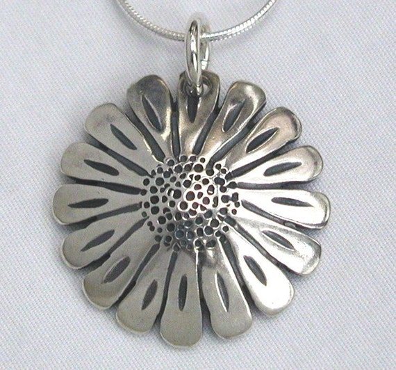 Sunflower Pendant made from Silver Half Dollar Coin