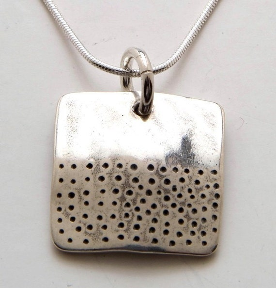 Coin Silver Square Dot Pendant Made from Vintage US Silver Half Dollar Coin