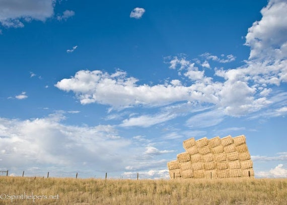 Lean on Me, Montana Hay Stack, Grassland Landscape, Big Sky Country, Farm Life, Photograph or Greeting card
