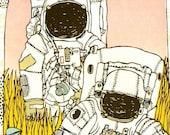 lost in space (astronauts) screenprint