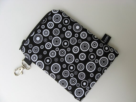 Versatile Padded Gadget Case ideal for iPod, Cell Phone, iPhone, Blackberry, GPS, Digital Camera - Black and White Circles And Dots - Water Resistant Lining - See Collection