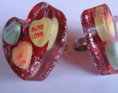 Giant Valentine Heart resin ring
