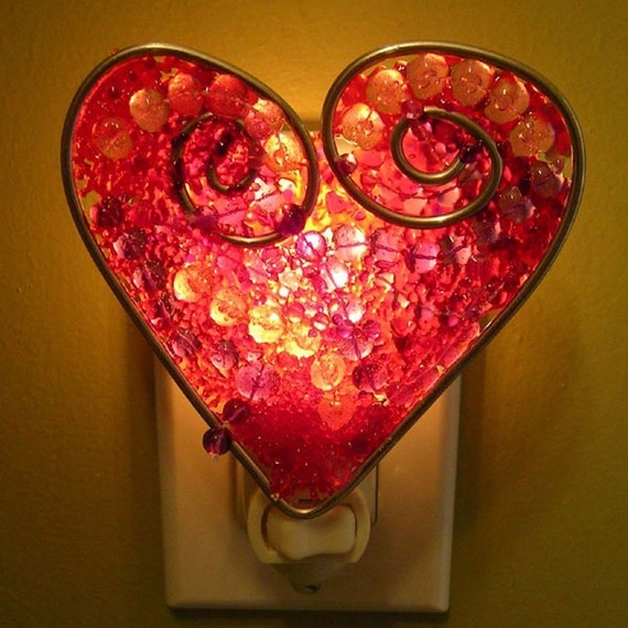 mardi gras heart night light