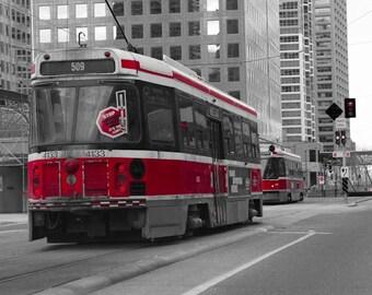 Fine Art Photography Red Toronto Street Car Canada