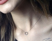 Mia Necklace - A Simple Circle Choker in Sterling Silver -Tiny Delicate Necklace Handmade by Queens Metal