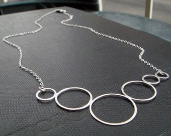 Caviar Necklace - Simple Circles in Sterling Silver Handmade by Queens Metal