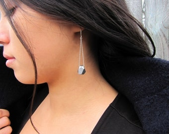Long Gem Dangle Earrings in White Metal and Sterling Silver - Hand Carved Gems by Queens Metal