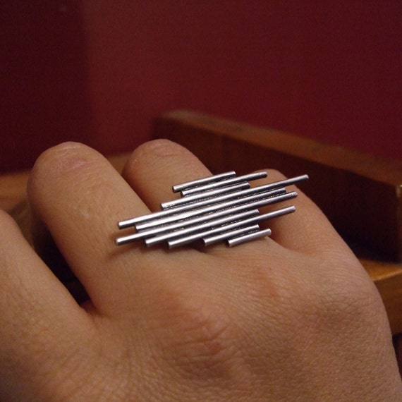Chrysler Ring - Art Deco Adjustable Band in Sterling Silver Handmade by Queens Metal