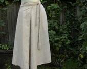 Vintage 1970's Tan Light Brown Plaid Wrap Skirt Medium Handmade