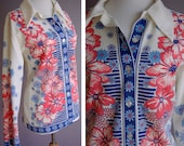 Flower Power Vintage 1960's Red White and Blue Button Down Shirt