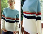MUNSINGWEAR 1960's 70's Vintage Men's Sweater with Baby Blue White and Red Stripes size Small