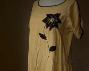 Antique Sunshine 1920's Vintage Original Yellow House Dress with Embroidered Flower