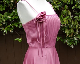 Vintage 1970's Sexy Pink Disco Dress with Rose Small Formal Gown