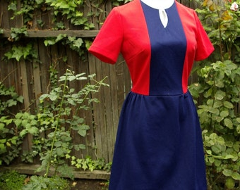 Vintage 1960's 70's Polyester Mini Dress with Red White and Blue