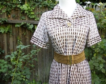Diamond Dolls Vintage 1960's Dress in Brown Tan and White