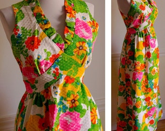 Flower Power BRIGHT Vintage 1960's 70's Maxi Dress by Montgomery Ward size XS Small
