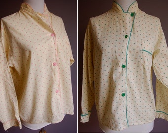 Stately Lady 1940's Twin Pajama Shirts with Bakelite Buttons in Green and Pink