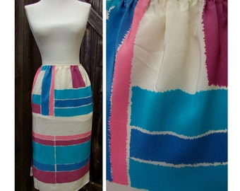 Designer Mary McFadden Vintage 1960's 70's Pure Silk Skirt with Mondrian Squares