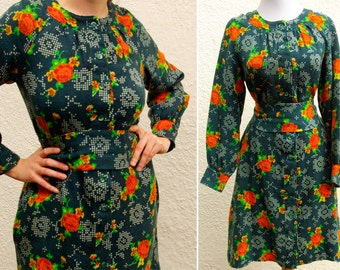 EMERALD Garden 1960's 70's Vintage Knit Green Dress with Orange Roses + White Dots // size Medium