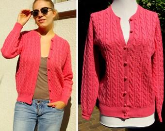 DEANS of Scotland 1950's Vintage Wool Knit Cardigan Sweater in Bubblegum Pink