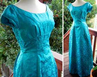 BLUE DANUBE 1950's 60's Long Satin Vintage Formal Gown with Bows and Train by Sylvia Ann