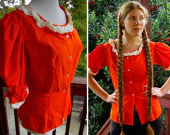 FAIRY TALE 1960's Vintage Tangerine Princess Blouse with BIG Puff Sleeves and White Lace